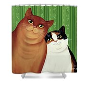 Moggies Shower Curtain by Magdolna Ban