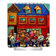 Moishes Steakhouse Hockey Practice Shower Curtain