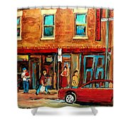 Moishes Steakhouse On The Main By Montreal Streetscene Painter Carole  Spandau  Shower Curtain