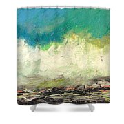 Molecules In Motion Series Shower Curtain