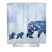 Mom And Baby Bears-blue Shower Curtain