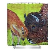 Mom And Baby Buffalo Calf Shower Curtain