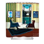 Mom And Daughter Sitting In Chairs With Sphynxes Shower Curtain