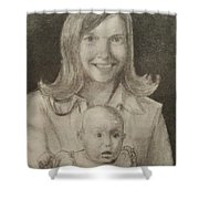 Mom And Sister Portrait Shower Curtain
