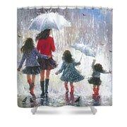 Mom Three Daughters Rain Shower Curtain