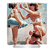 Mom With Girls At Beach Shower Curtain