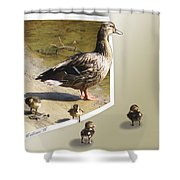 Momma And Her Babies Shower Curtain