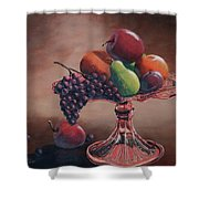 Mom's Pink Dish With Fruit Shower Curtain