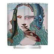 Mona Lisa. Water Shower Curtain