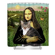 Mona Lisa's Tri Color Cat Shower Curtain