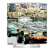 Monaco Grand Prix Racing Poster - Original Art Work Shower Curtain