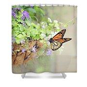 Monarch And Garden Basket Shower Curtain