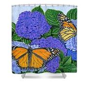 Monarch Butterflies And Hydrangeas Shower Curtain