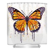 Monarch Butterfly Watercolor Shower Curtain