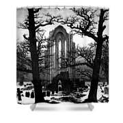 Monastery Graveyard In The Snow Cdf Shower Curtain