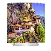 Monastery In Bhutan Shower Curtain