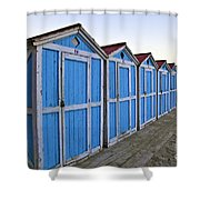 Mondello Beach Cabanas Shower Curtain