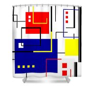 Mondrian Redux Shower Curtain
