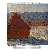 Monet Claude Haystack Snow Effect  Cat Shower Curtain
