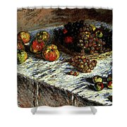 Monet Claude Still Life Apples And Grapes Shower Curtain