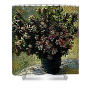 Monet Claude Vase Of Flowers Shower Curtain