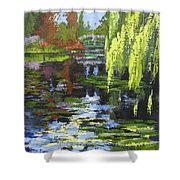 Monets Garden Painting Palette Knife Shower Curtain