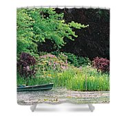 Monet's Garden Pond And Boat Shower Curtain