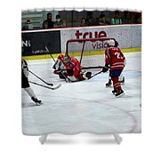 Mongolia Team Players Defend Goal Vs Malaysia In Ice Hockey Match In Rink Bangkok Thailand Shower Curtain