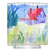 Monhegan Light And Hill Shower Curtain