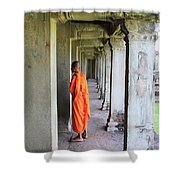 Monk Among The Ruins At Angkor Wat, Cambodia Shower Curtain
