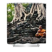 Monk At Preah Palilay Temple Shower Curtain