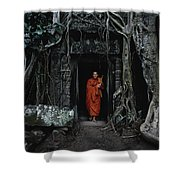 Monk At  Ta Prohm Temple  Shower Curtain
