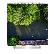 Monk Rowing Boat Along Floating Market Aerial View Shower Curtain by Pradeep Raja PRINTS