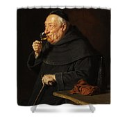 Monk With A Wine Shower Curtain