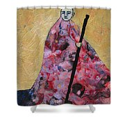 Monk With Walking Stick Shower Curtain
