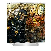 Monkey Demon Shower Curtain by Grebo Gray