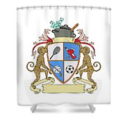 Monkey Money Cook Pot Sports Wine Coat Of Arms Drawing Shower Curtain