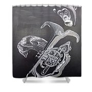 Monkey Playing Tuba Shower Curtain