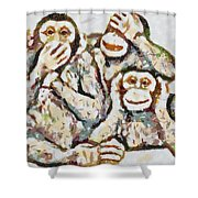 Monkey See Monkey Do Fragmented Shower Curtain