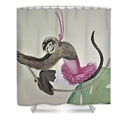 Monkey Swinging In The Trees Shower Curtain
