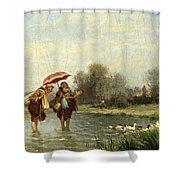 Monks And Ducks Shower Curtain