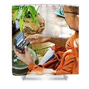 Monks Blessing Buddhist Wedding Ring Ceremony In Cambodia Asia Shower Curtain