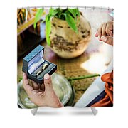 Monks Blessing Buddhist Wedding Ring Ceremony In Cambodia Shower Curtain