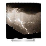 Mono Tone Lightning Striking The Ridge Shower Curtain