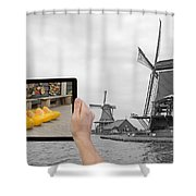 Monochromatic Concept Travel To Netherlands Shower Curtain