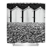 Monochrome Beach Huts Shower Curtain