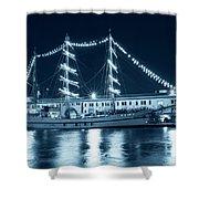 Monochrome Blue Boston Tall Ships At Night Boston Ma Shower Curtain