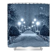 Monochrome Blue Nights Boston Public Garden Snow Storm Ma Massachusetts Bridge Lights Shower Curtain