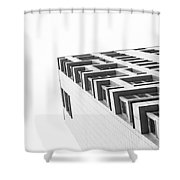 Monochrome Building Abstract 4 Shower Curtain