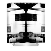 Monochrome Building Symmetry Abstract Shower Curtain